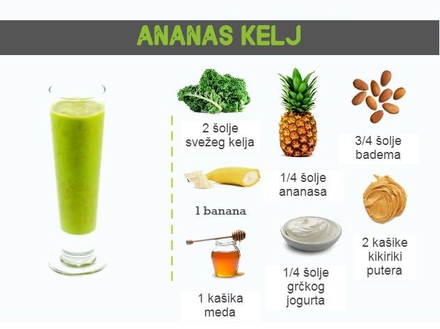 smuti recept ananas kelj