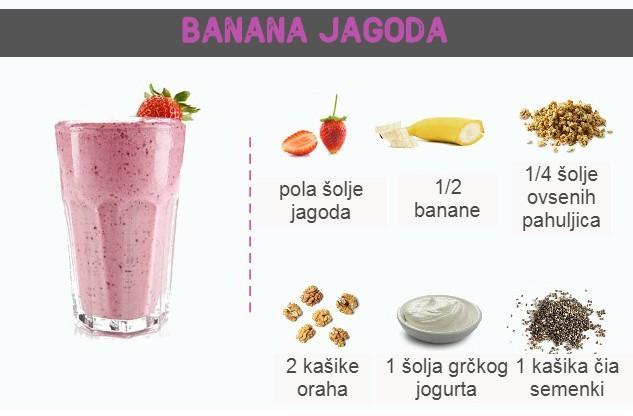 smuti recept banana jagoda